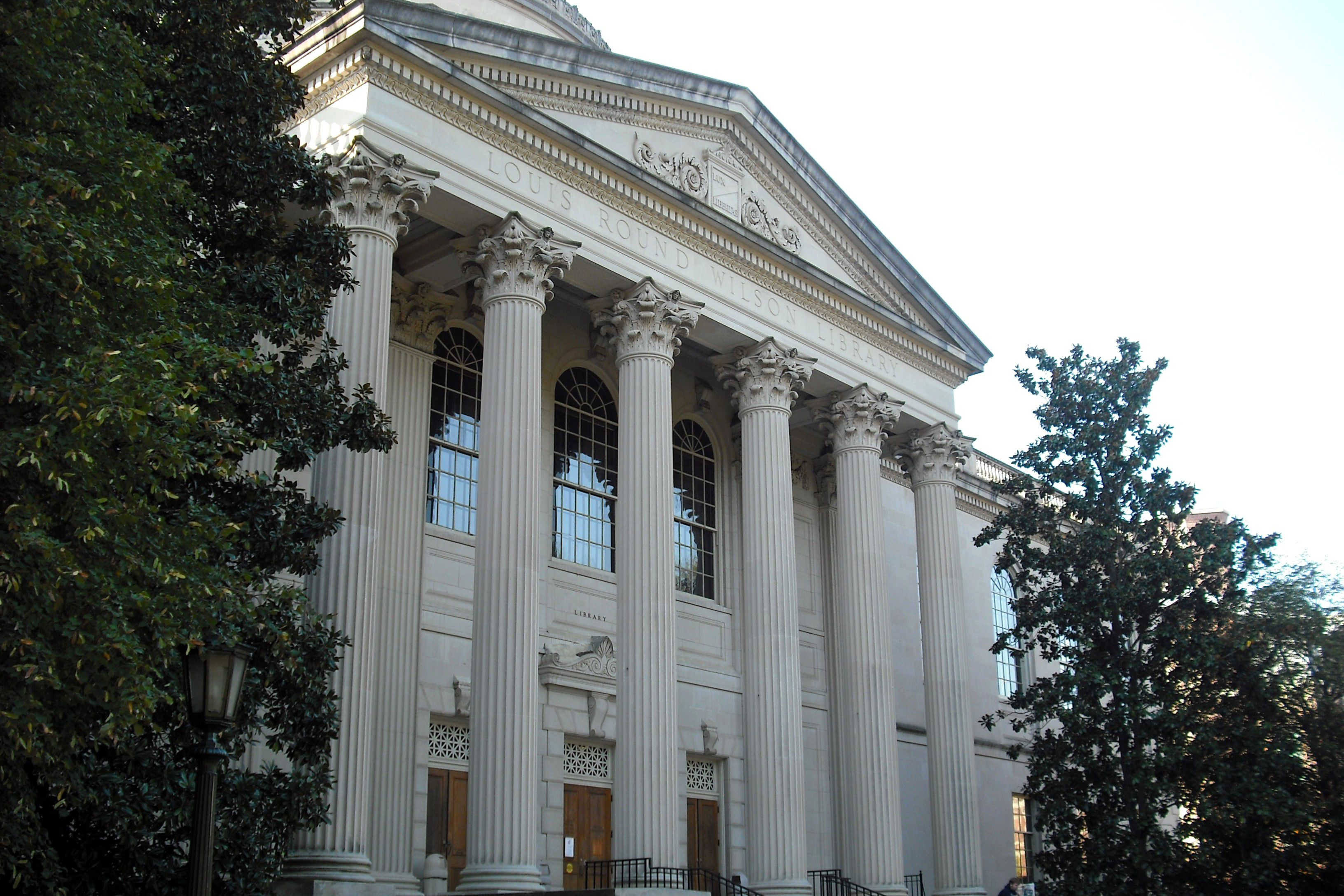 The neoclassical columns fronting Louis Round Wilson Library at UNC Chapel Hill