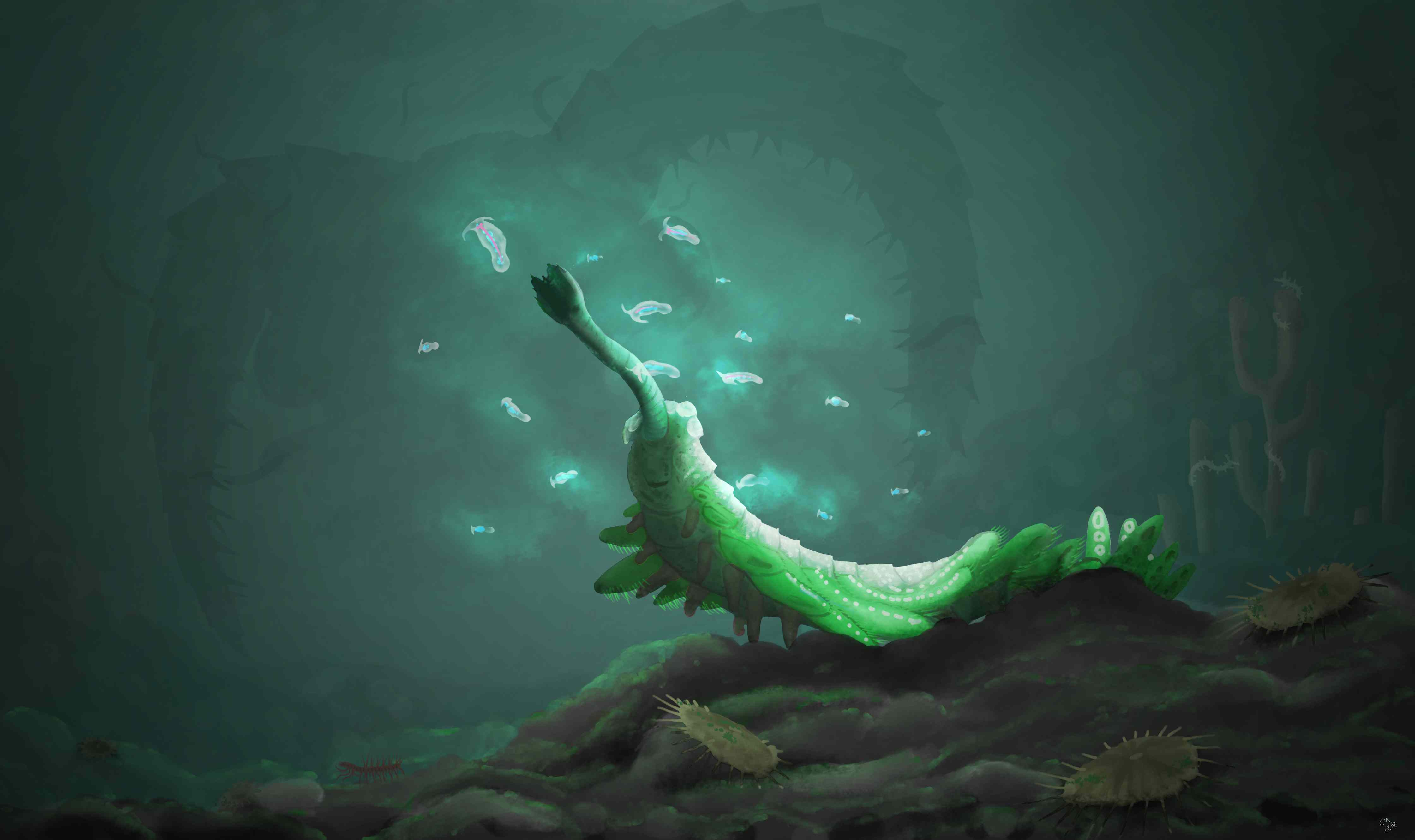 Opabinia, Cambrian-era creature as it would have looked while alive.