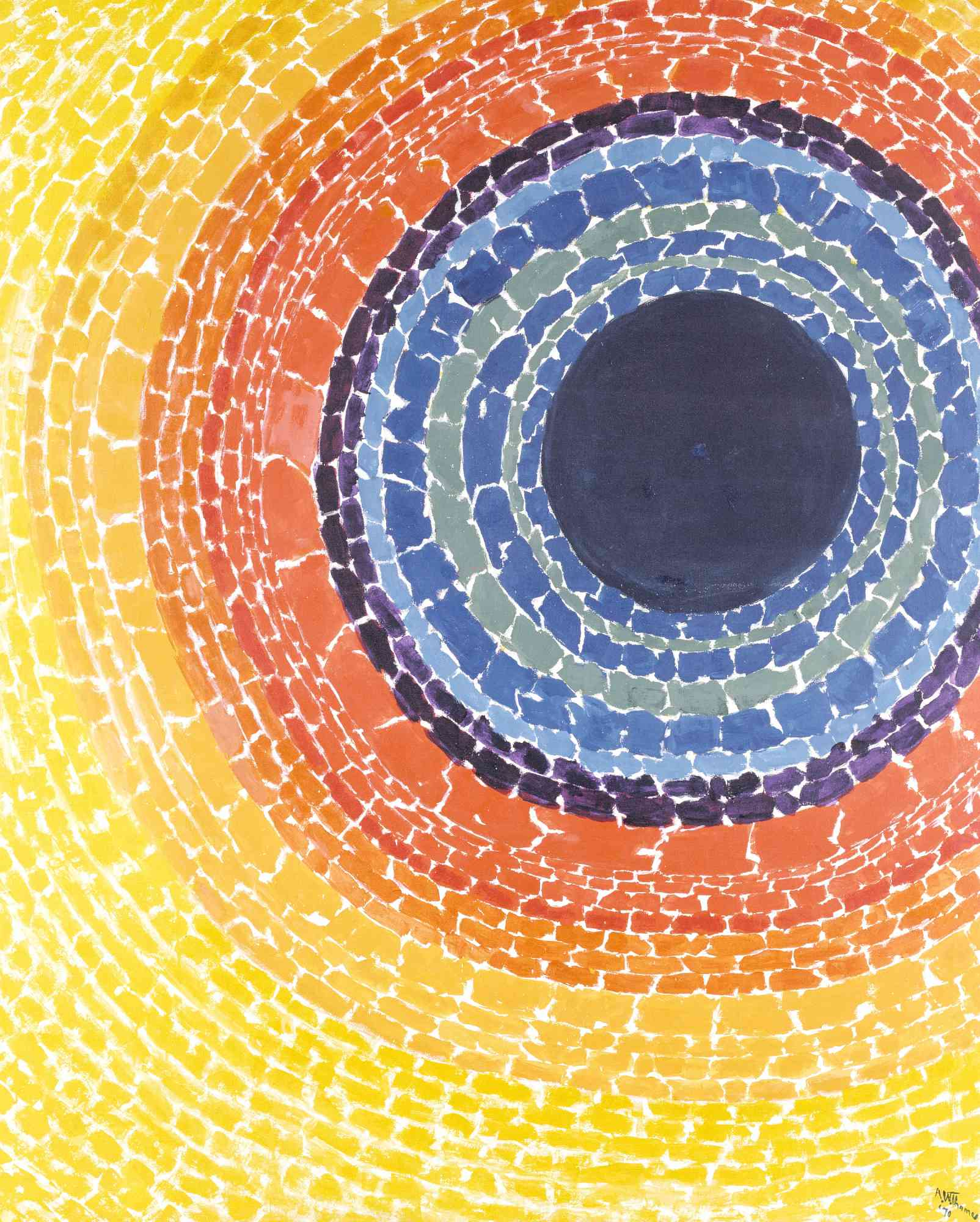 Concentric circle Abstraction with yellow outer layers, orange, purple, and blue inner circles