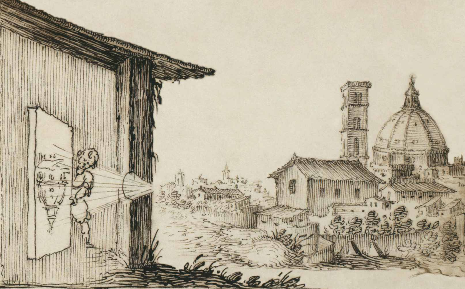 """Illustration of camera obscura from """"Sketchbook on military art"""