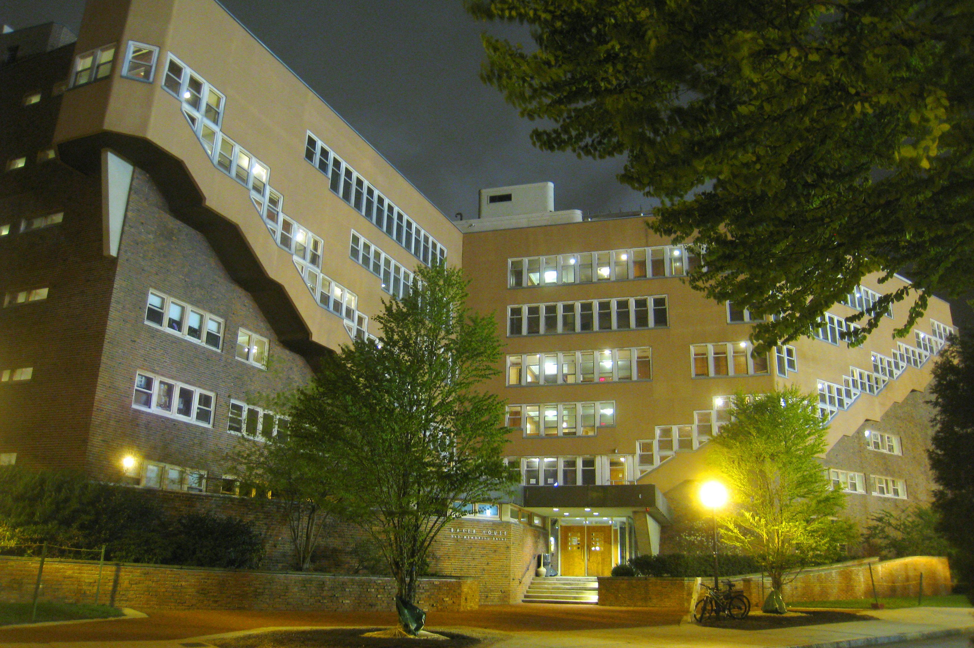 Night view of The Baker House at MIT by Alvar Aalto