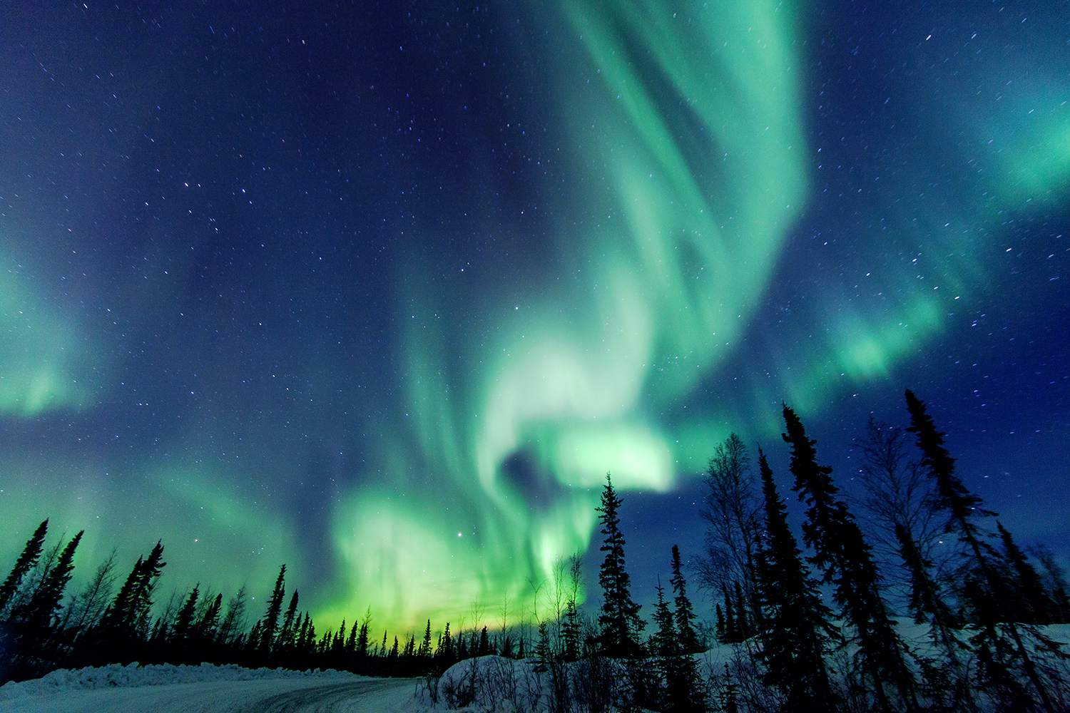 Northern Lights close to Yellowknife in the Northwest Territories