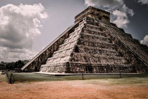 Low Angle View Of Mayan Pyramid Against Sky