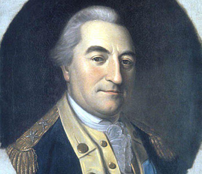 Baron de Kalb in a blue Continental Army uniform.
