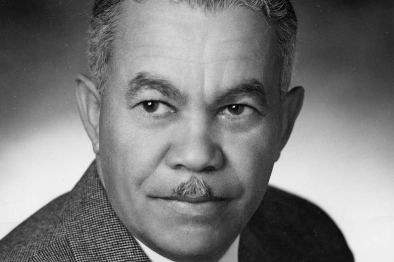 Black and white portrait of Black architect Paul R. Williams, 1951