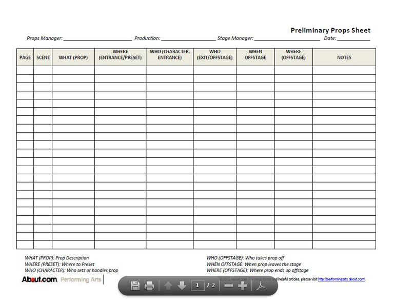 downloadable prop list forms for stage techs