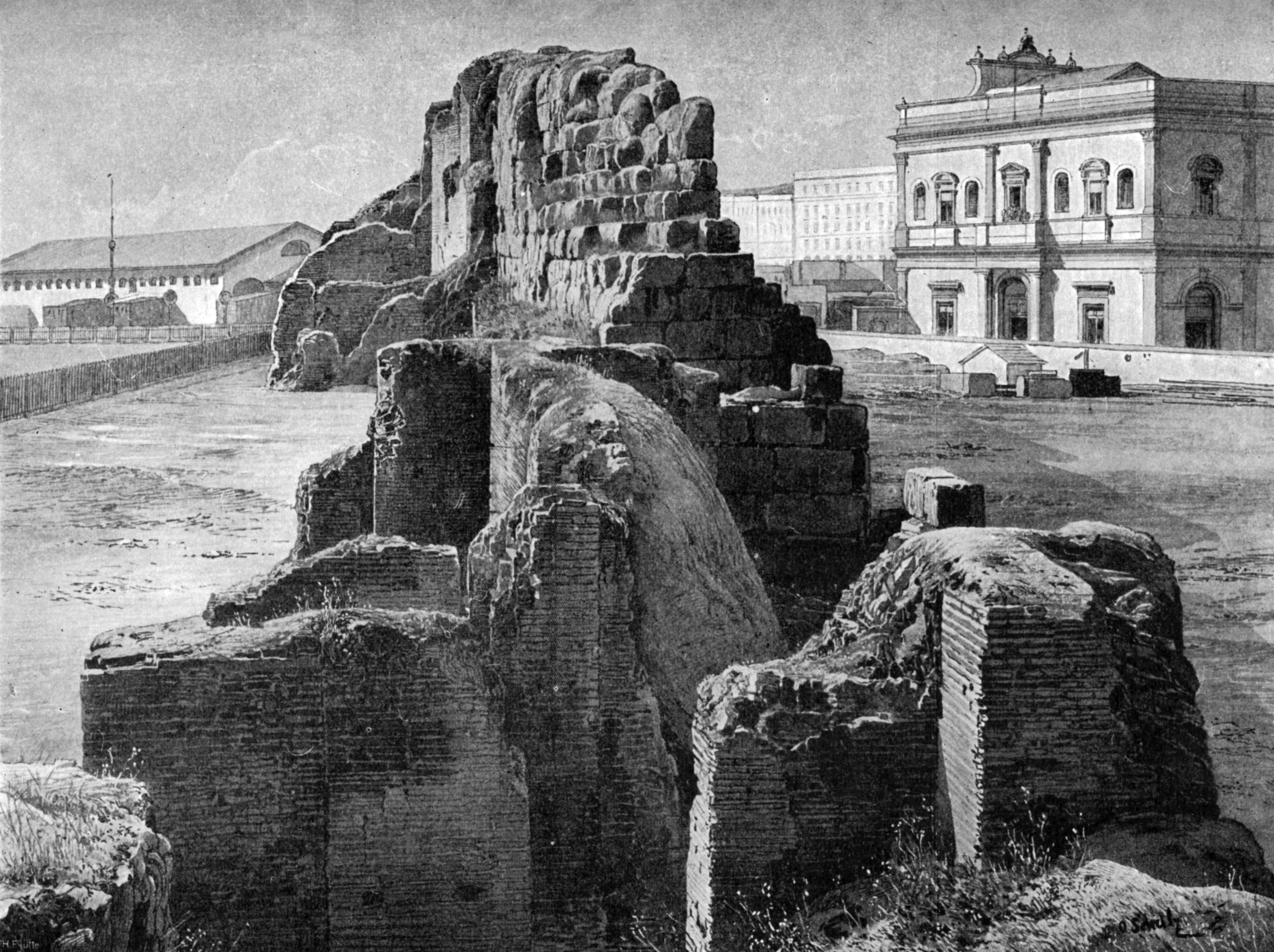 Remains of the Servian wall near the railway station, Rome, 1902.