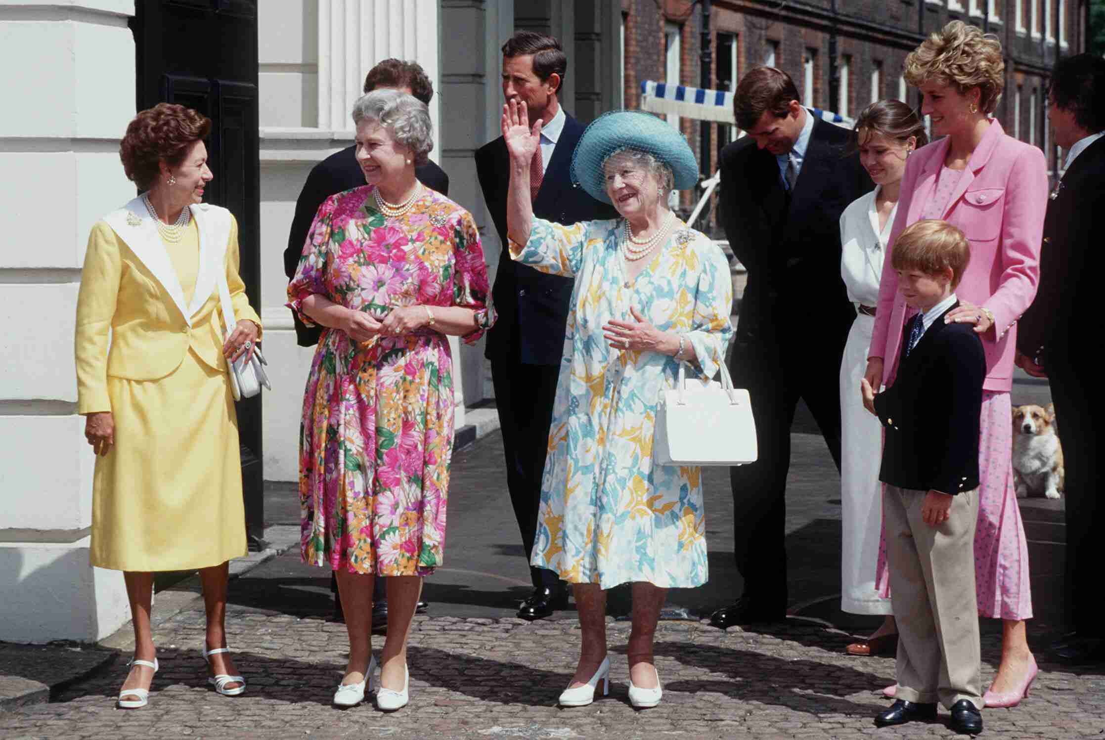 Queen Elizabeth the Queen Mother in 1992, accompanied by Princess Margaret, Queen Elizabeth ll, Diana, Princess of Wales and Prince Harry