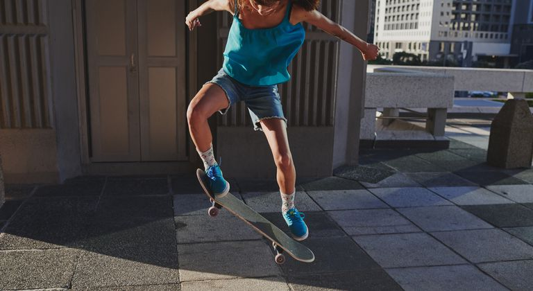 Skateboarder performing an ollie