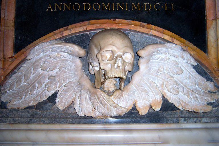 A Memento Mori marks a tomb in the Church of Santa Maria sopra Minerva in Rome. (Photo © Scott P. Richert)