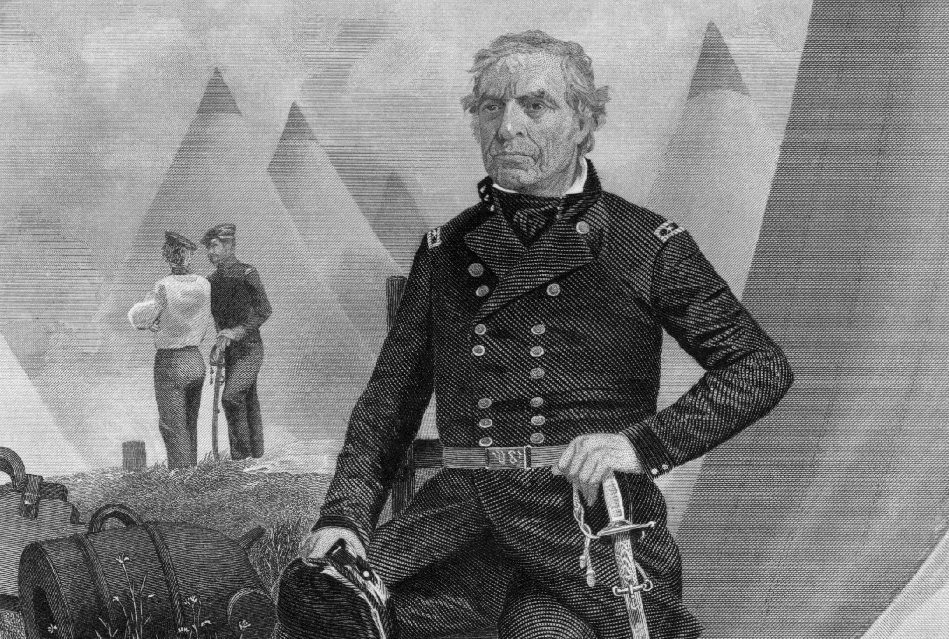 Engraved portrait of Zachary Taylor in military uniform