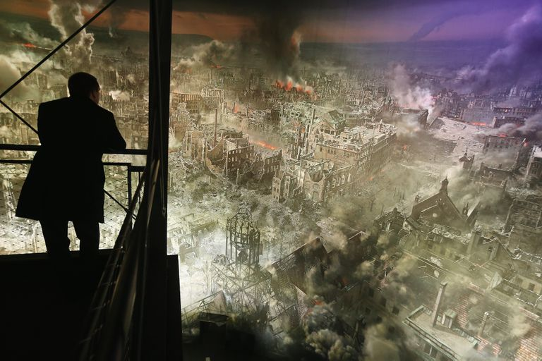 Artist's rendition of Dresden after the 1945 bombing