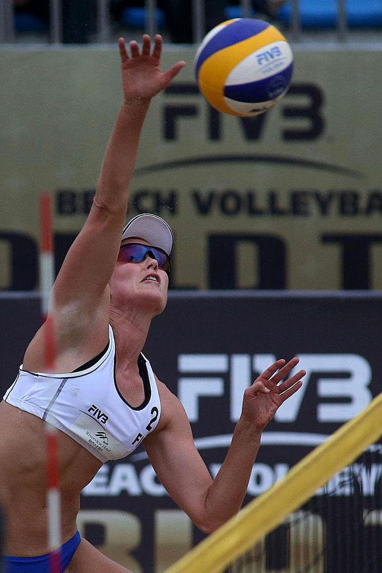 FUZHOU, CHINA - APRIL 25: Emilia Nystrom of Finland plays the ball during a women's main draw match on Day 4 of the 2014 FIVB Beach Volleyball Fuzhou Open on April 25, 2014 in Fuzhou, China.