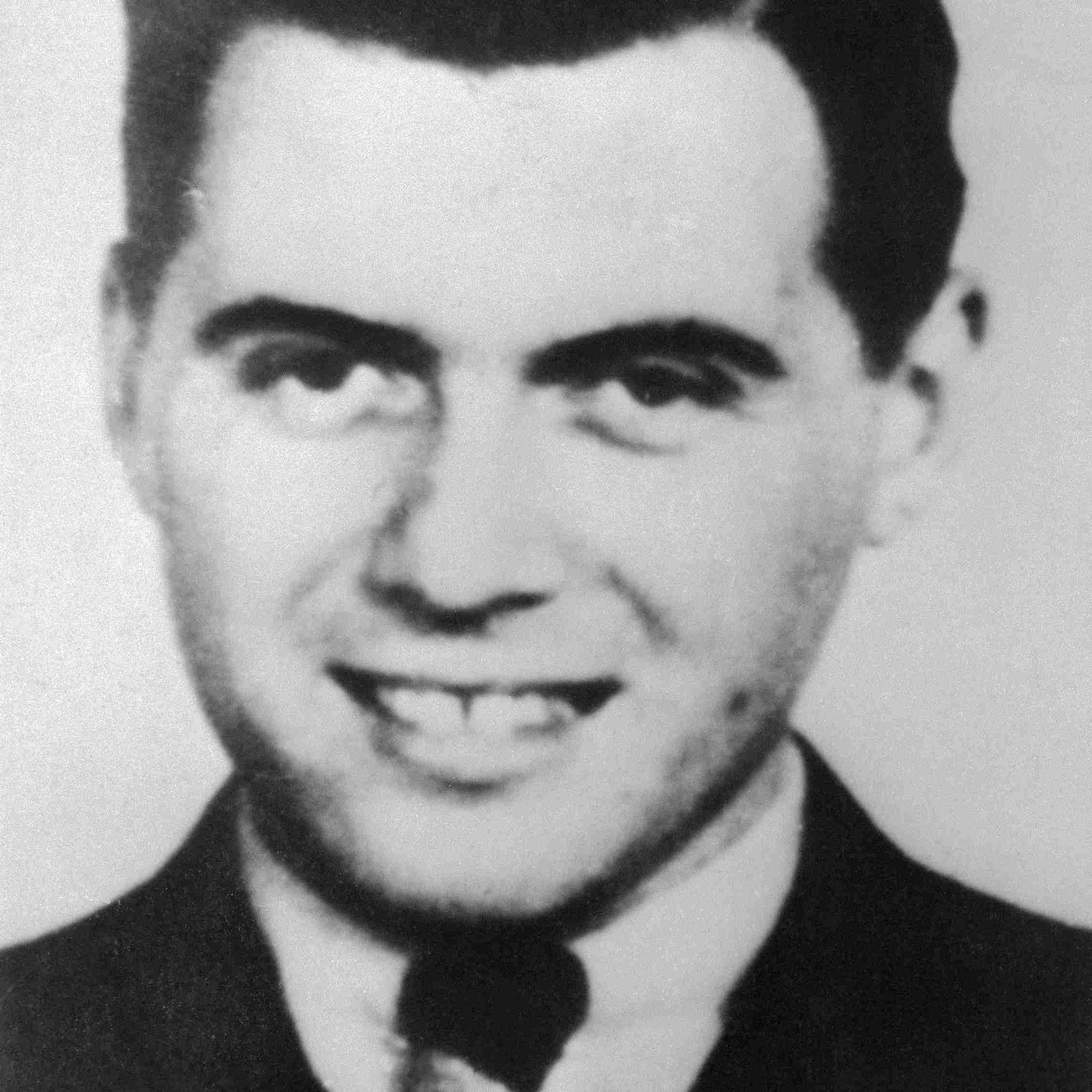 Black and white photograph of Joseph Mengele.
