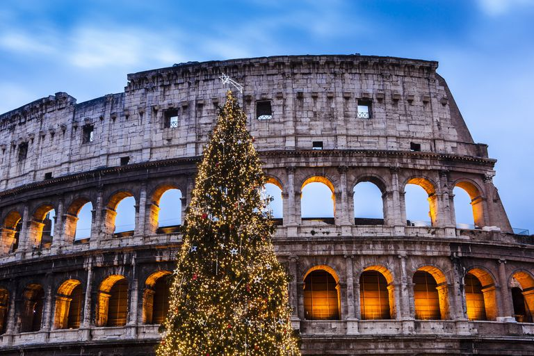 christmas tree at colosseum at dusk - Italian Christmas