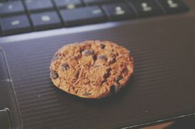 Close-Up Of Chocolate Chip Cookie On Laptop