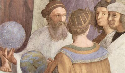 Section From The School of Athens, by Raphael. Bearded Zoroaster holds a globe.
