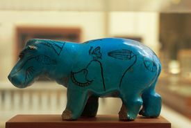 Statuette of Hippo in blue Egyptian faience, Egyptian civilization, Middle Kingdom, XI-XIII Dynasty