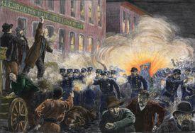 Color illustration of 1886 Haymarket Square Riot