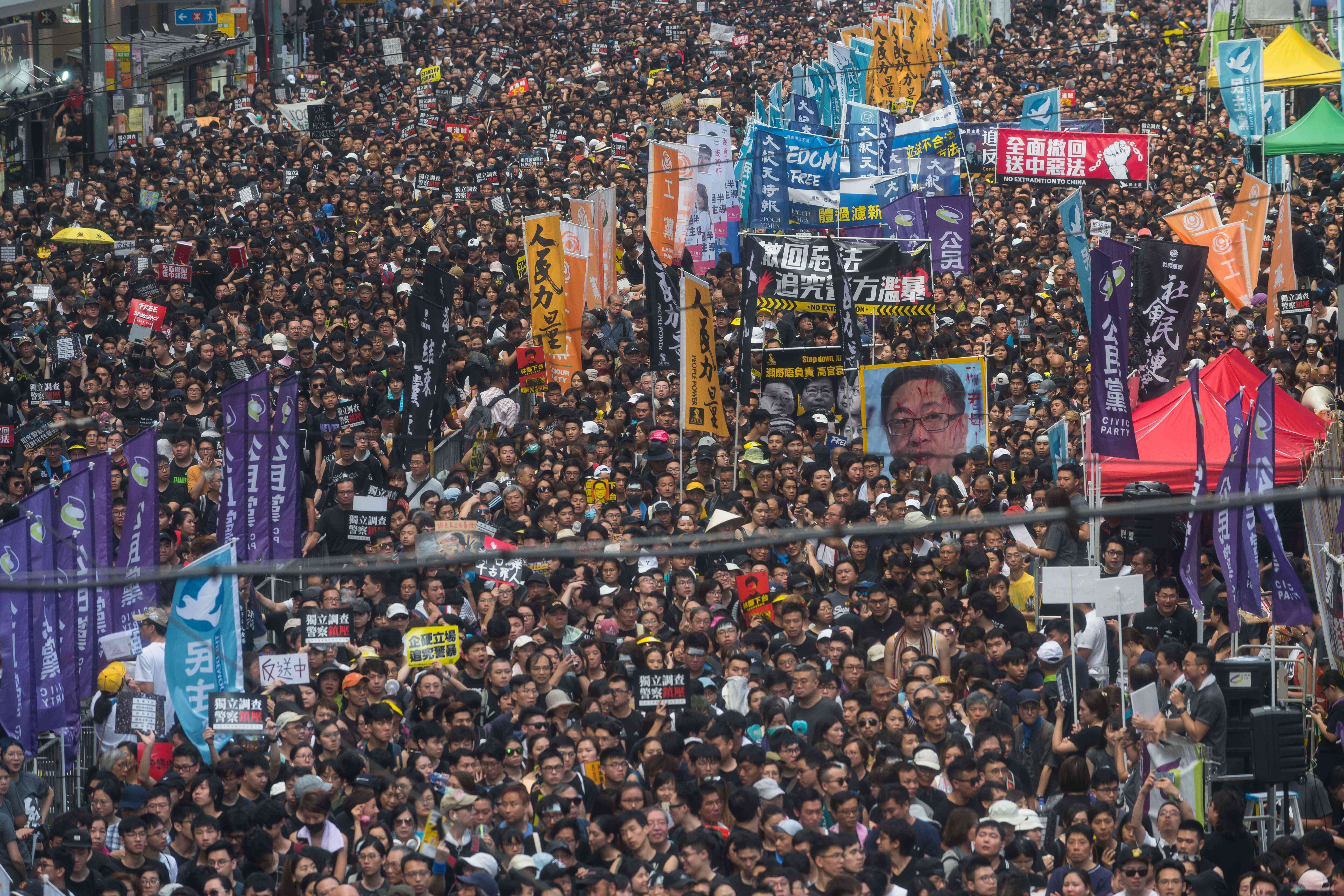Protesters take part in a rally against extradition bill on July 1, 2019 in Hong Kong, China.