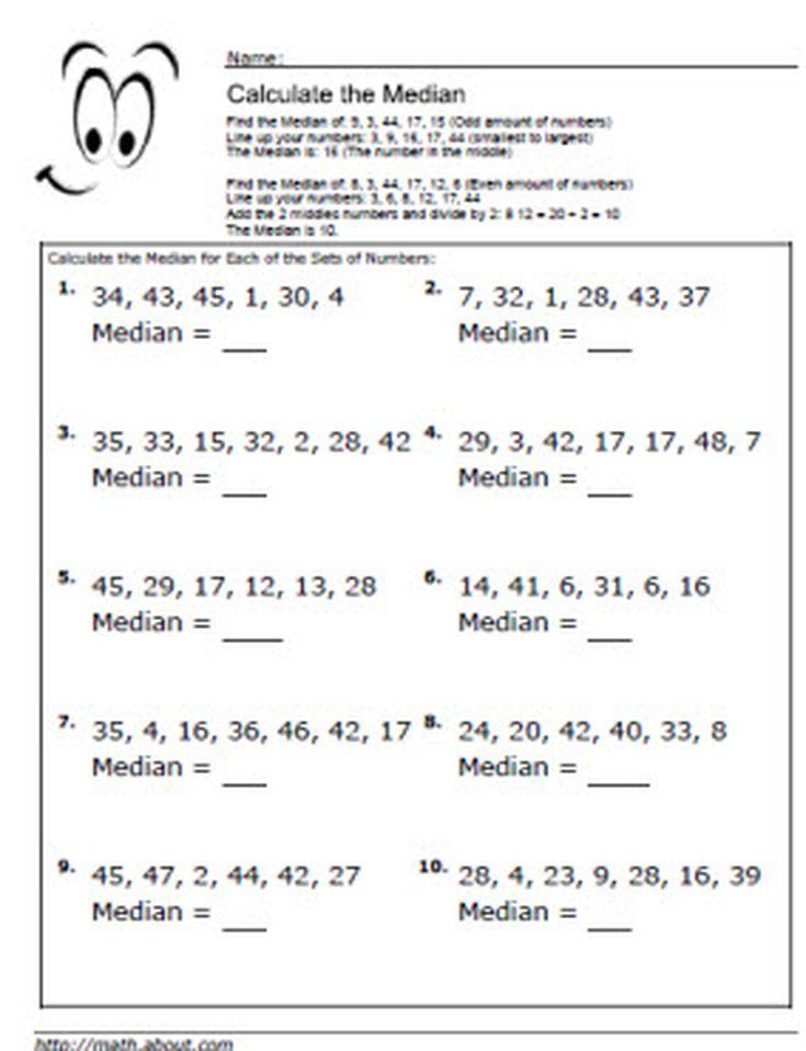 Median Worksheets for Math Students