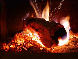 Burning Yule Log