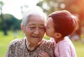 Grandson kissing grandmother