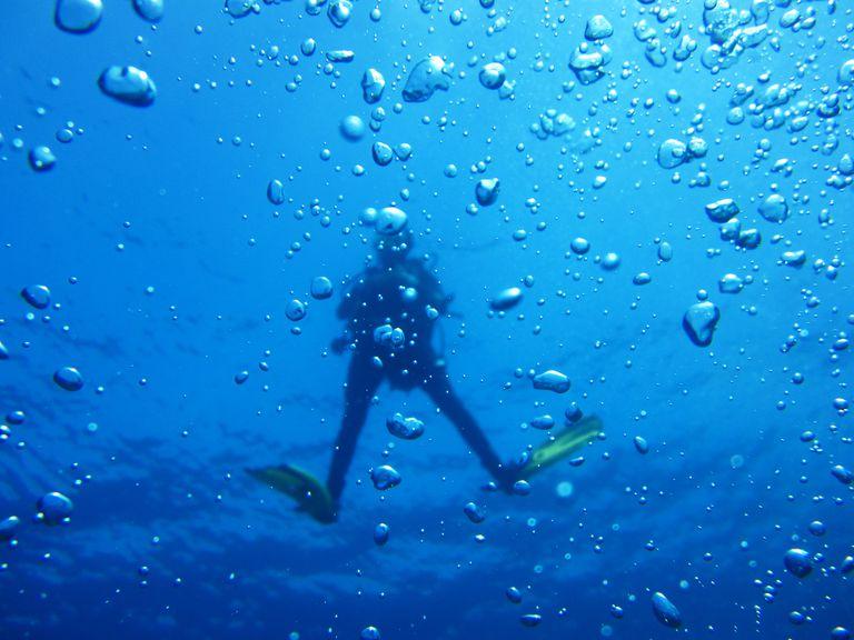 Ascending Divers Finishing Decompression