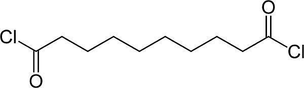 Esta es la estructura química del cloruro de sebacoilo.