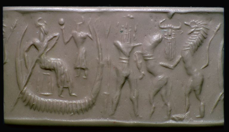 Akkadian Cylinder Seal Illustrating the Flood Epic in Gilgamesh