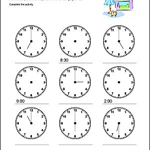 telling time practice worksheets