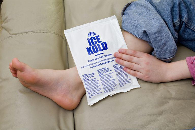 Cold pack placed on child's ankle.