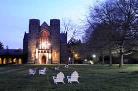 Campus view of Swarthmore College at Night.