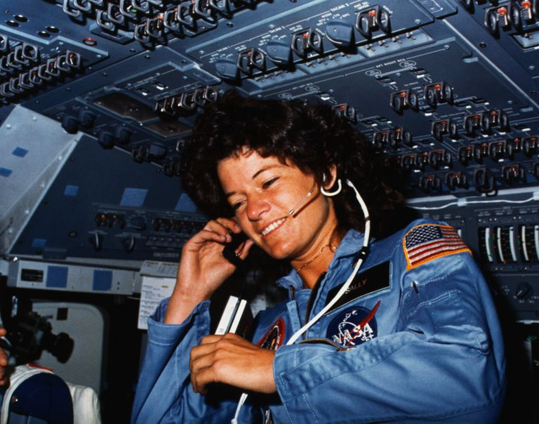 Sally Ride Communicating with Ground Control
