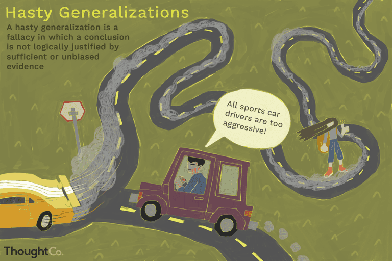 Hasty Generalizations illustration with a person in a car saying,