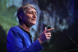 Interior Secretary Sally Jewel delivering a speech
