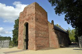 The ruined tower of the 17th century Jamestown Church; the nave was reconstructed in 1907 on the original foundations