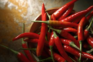 Bowl of red chili peppers close up.