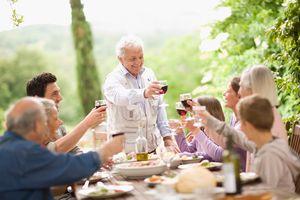 Family drinking wine