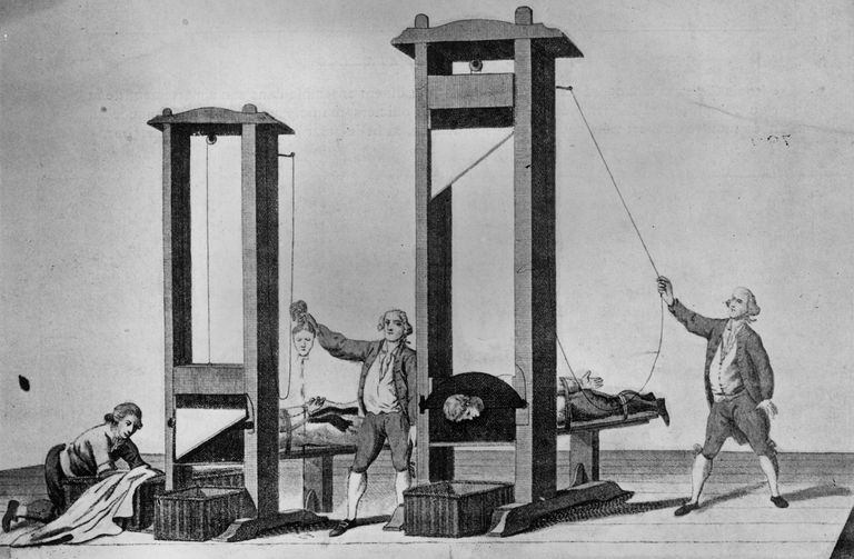 An illustration of guillotines in use