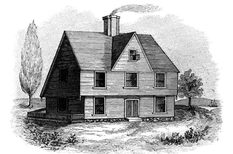 black and white line drawing of saltbox colonial house, center chimney, front cross gable