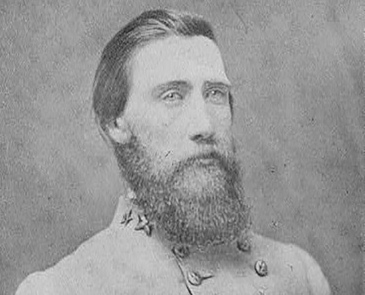 John Bell Hood in a Confederate Army uniform, bust studio portrait.