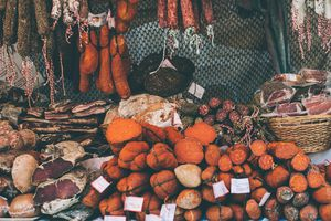 Cold meats and sausages in medieval fair