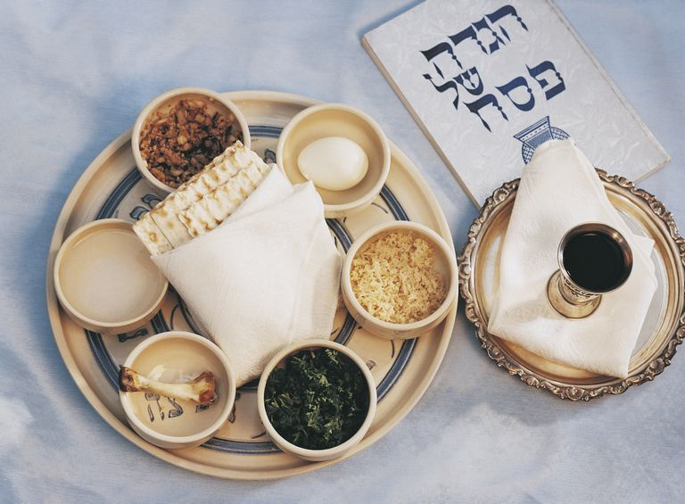 Typical items from a traditional Passover Seder
