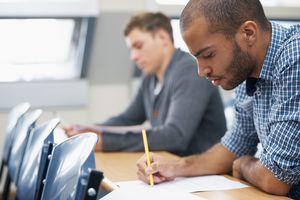 men taking a test