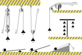 Artistic renditions of pulleys, levers, and inclined planes