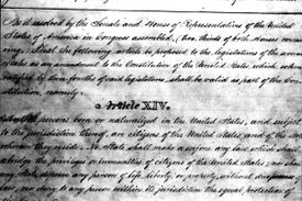 Draft of the 14th Amendment to the US Constitution,