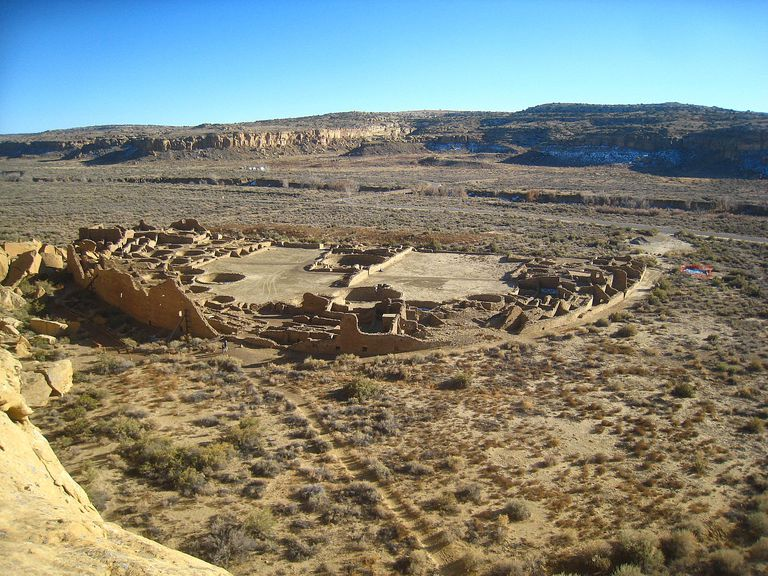Areal of Pueblo Bonito, Chaco Canyon.