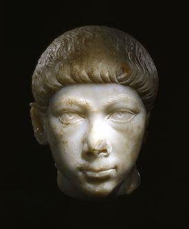 Bust of Gratian against black background.