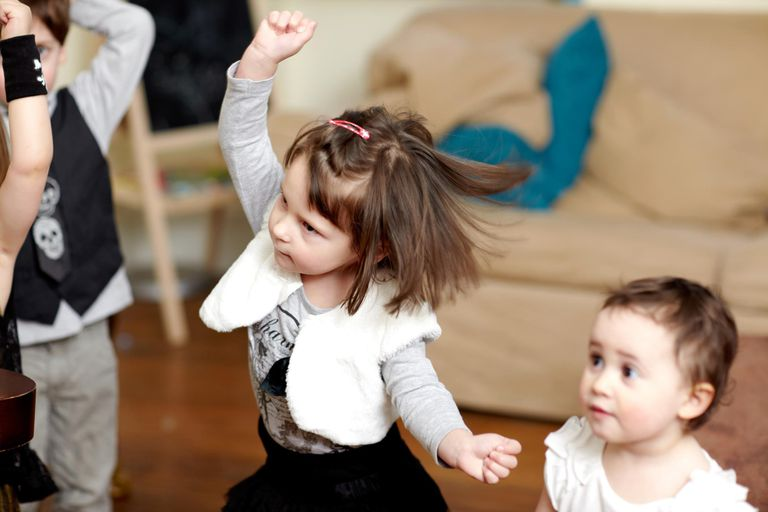 Toddler, dancing, arm raised